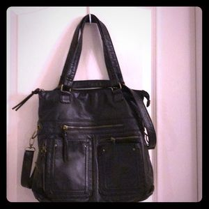 Black leather laptop bag and cross body bag.